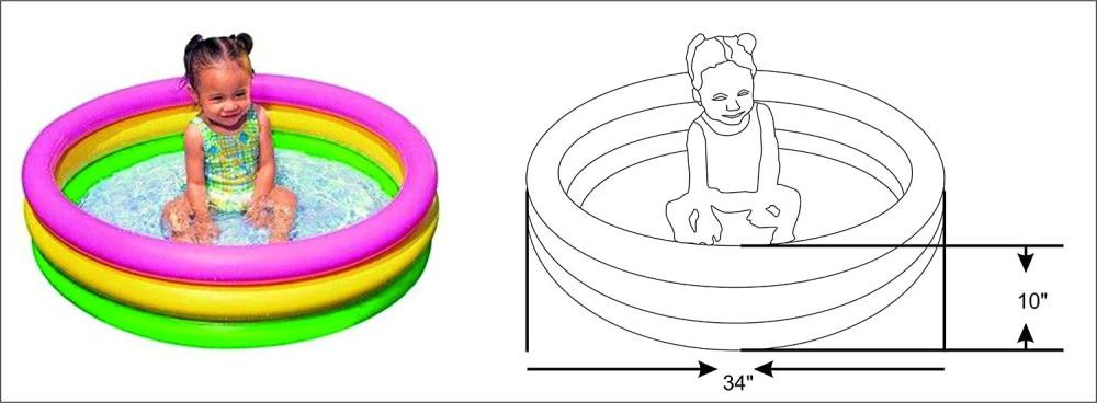 حوض سباحة استحمام قابل للنفخ للأطفال للعب بالماء مقاس داخلي 61X22 سم