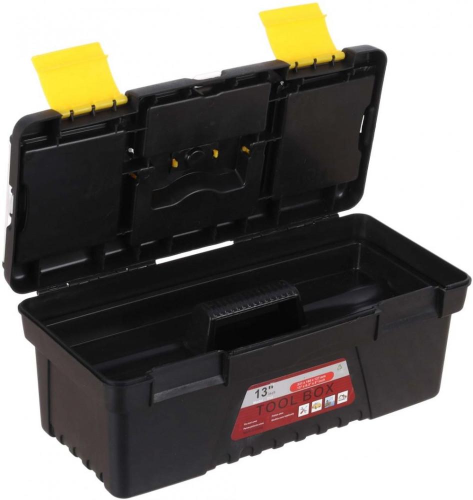 صندوق عدد من البلاستيك مع صينية بمقبض مريح لتخزين العدد والأدوات  أسود
