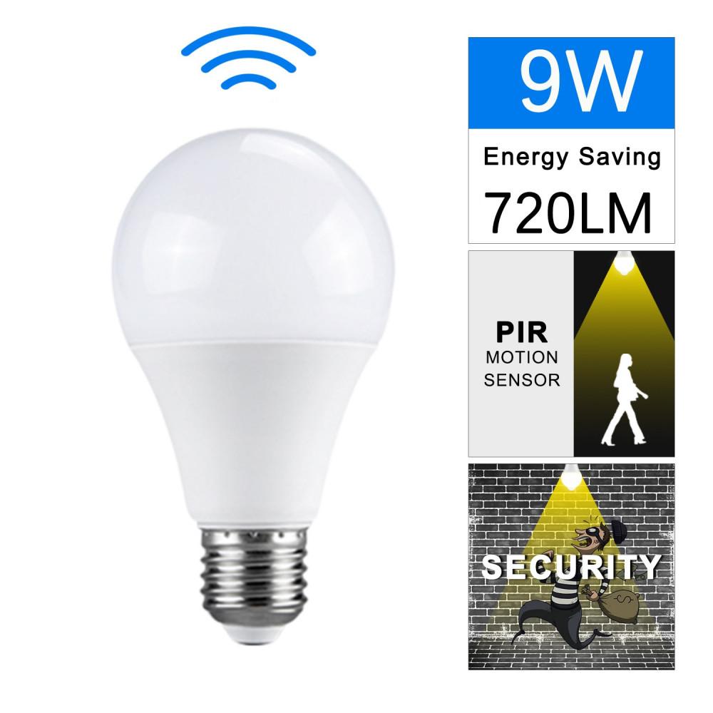 مصباح ذكي حساس حركة  LEDأبيض 220-240 فولت 9 واطE27  لون K6500 عمر طويل