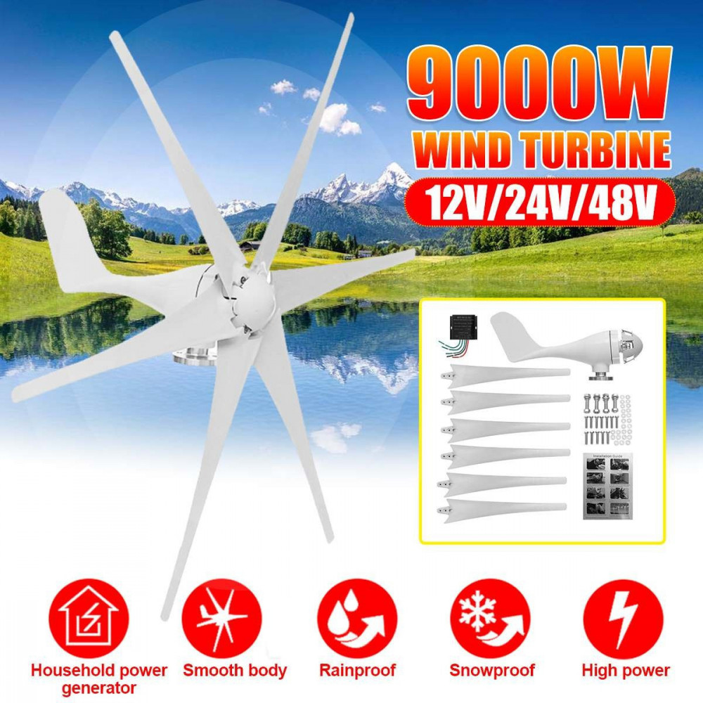 مولد طاقة كهربائية بواسطة الرياح بقوة 9000 واط 12 فولت 6 ريش