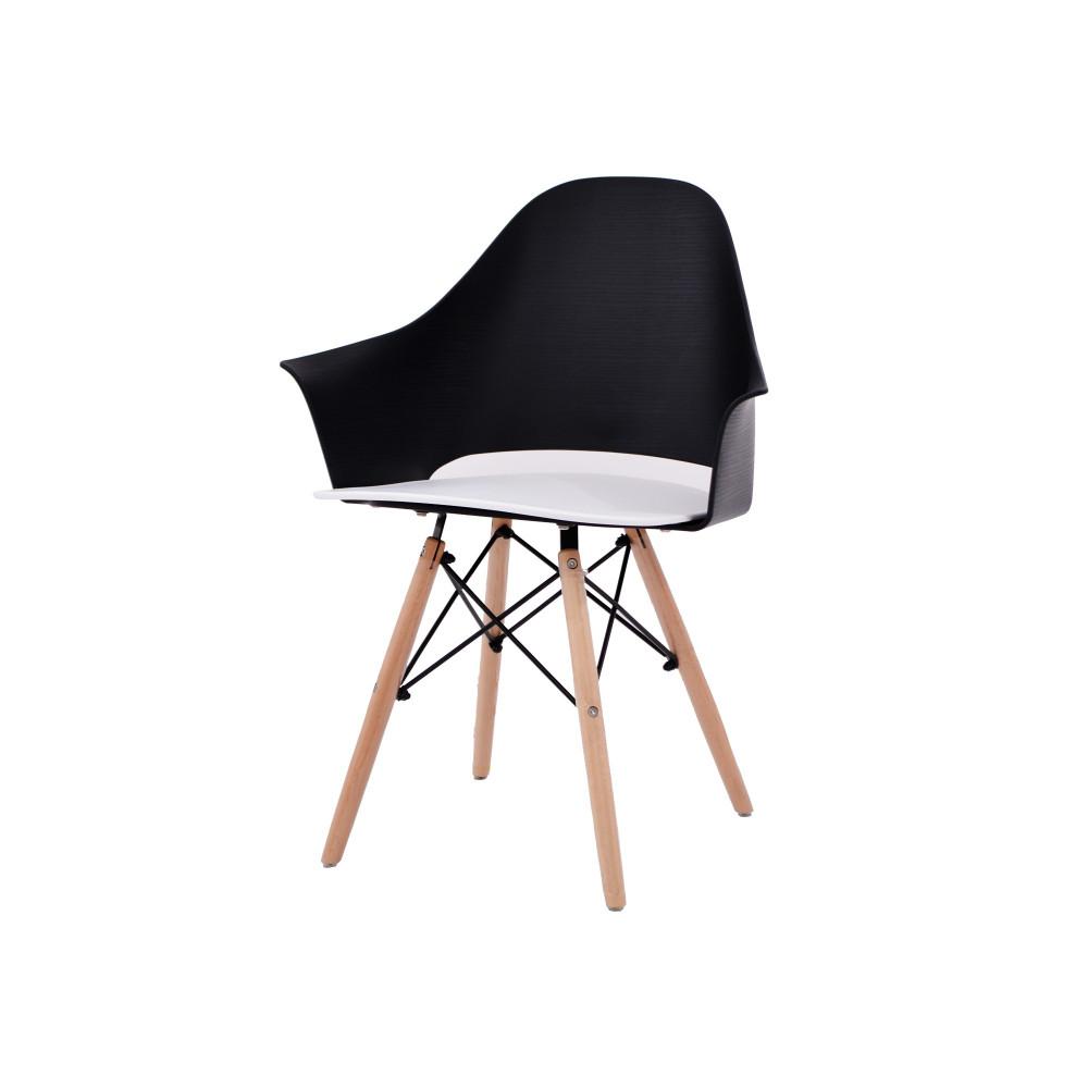 كرسي كاما فيبر اسود ابيض ارجل خشب C-D-863A BLACK WHITE
