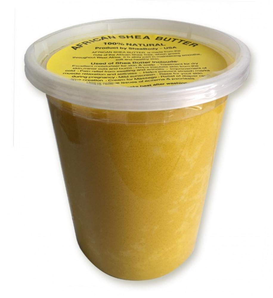زبدة الشيا الصفراء علبة كبيرة بوزن 900 جرام خام طبيعية بدون إضافات