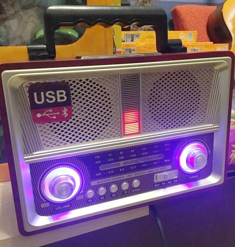 راديو تراثي MD-1802BT مع مشغل صوتيات يعمل على قنوات  AM FM SW