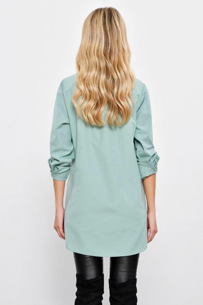 قميص طويل أخضر فاتح بأزرار مخفية نسائي