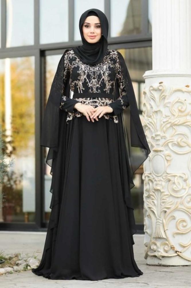فستان سهرة أسود بتول وجزء علوي ترتر نسائي