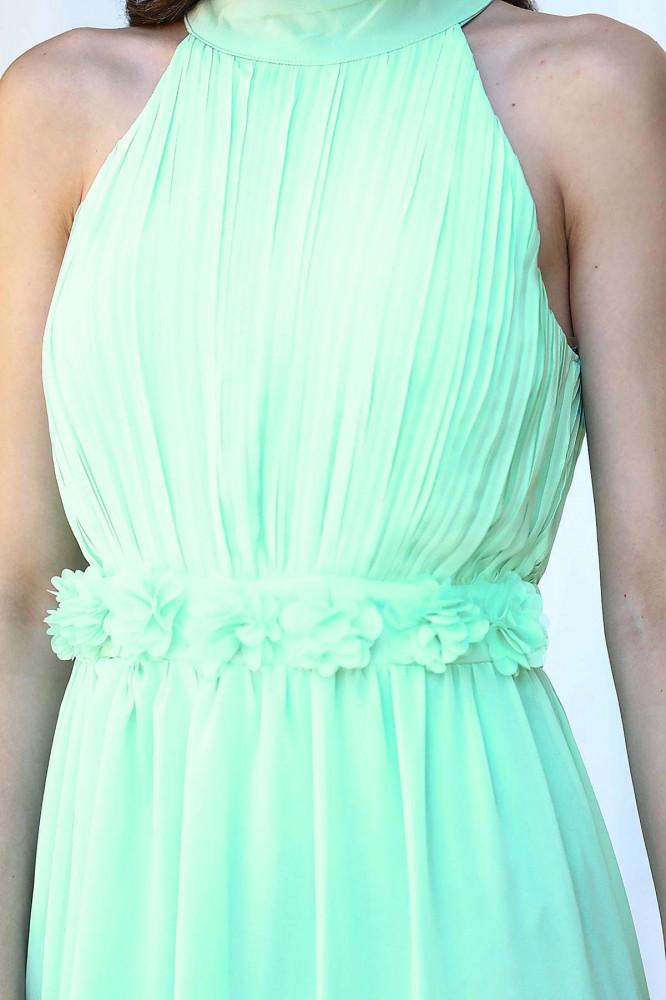 فستان سهرة شيفون أخضر فاتح نسائي