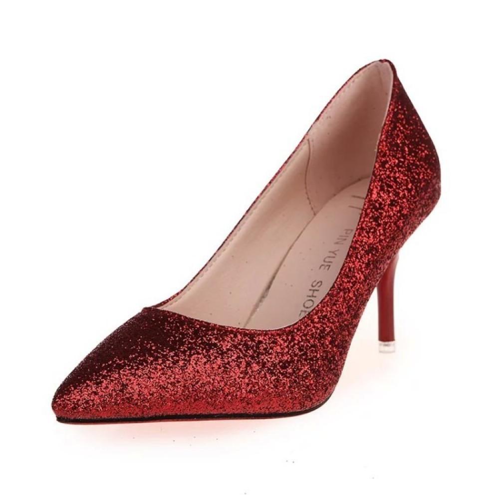 حذاء بكعب عالي أحمر متوهج بألوان براقة - متجر تواجد