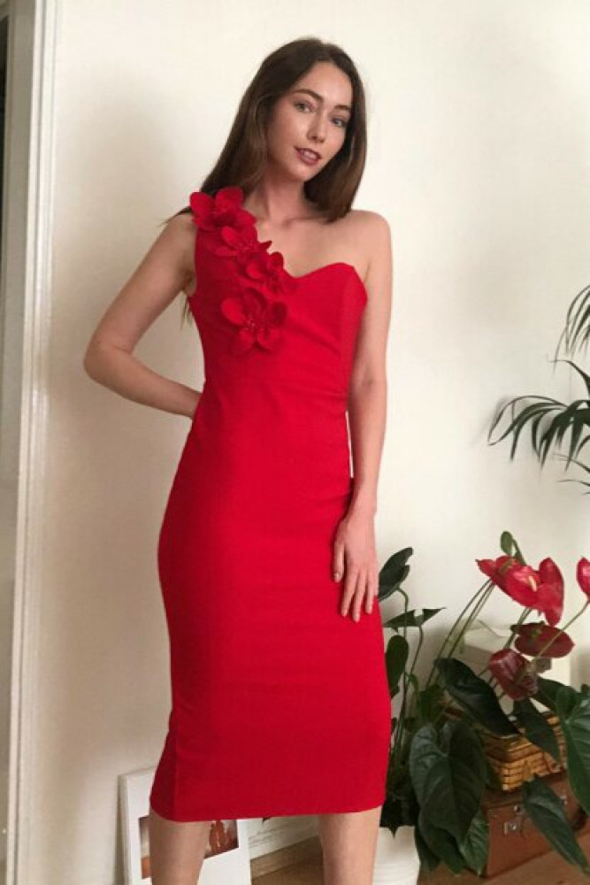 فستان أحمر مفصل بورود نسائي