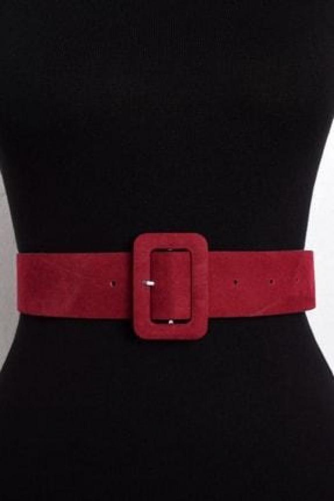 حزام جلد سويدي عنابي نسائي