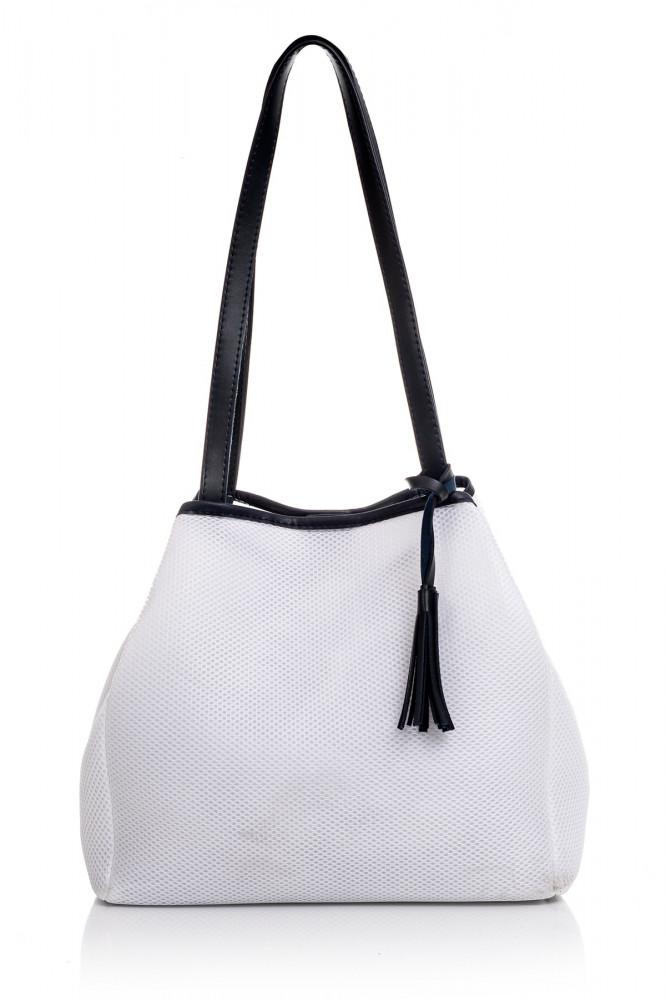 حقيبة كحلي- أبيض نسائية