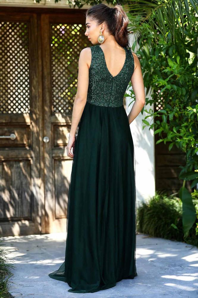 فستان سهرة أخضر زمردي بجزء علوي بترتر نسائي