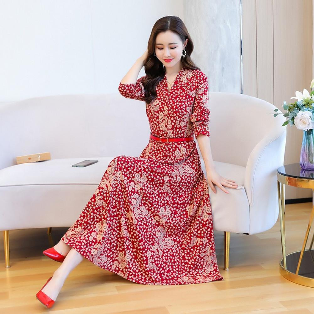 فستان أحمر طويل بستايل كوري - متجر تواجد