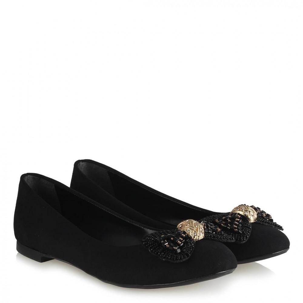 حذاء فلات جلد سويدي أسود نسائي