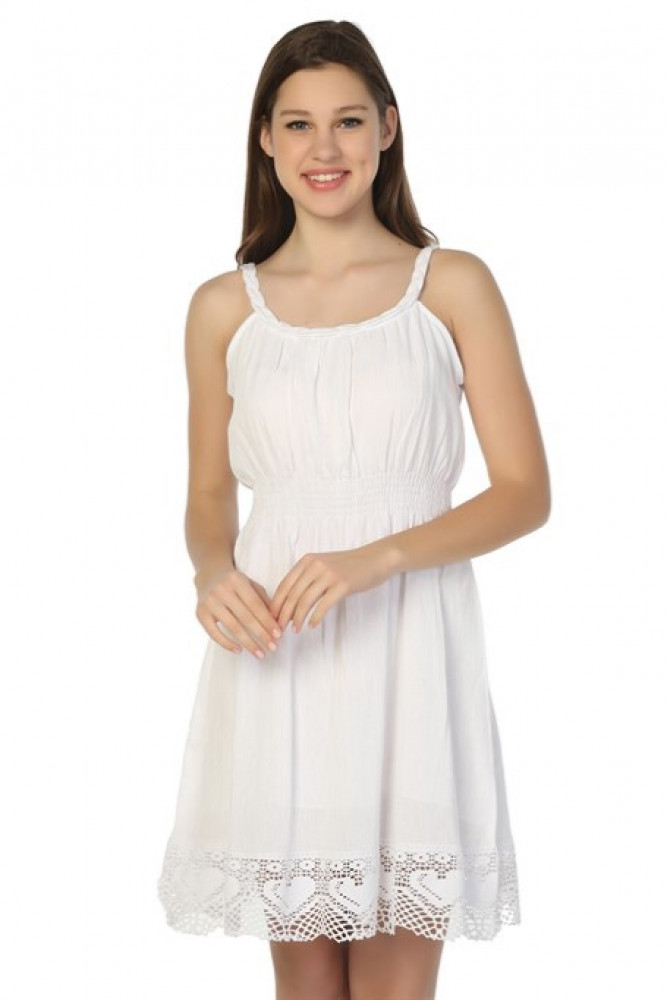 فستان أبيض قصير نسائي