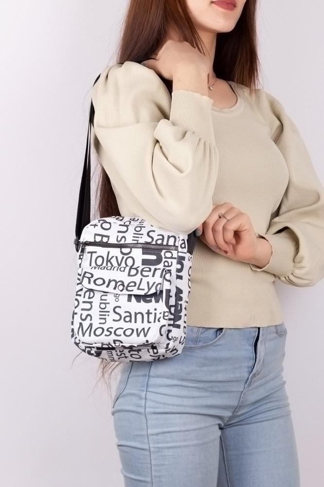 حقيبة كروس بودي قماش أبيض بطبعة نسائي