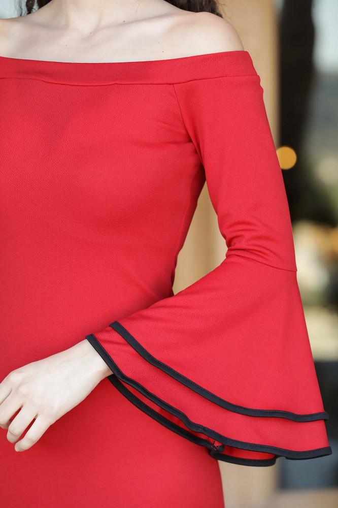 فستان قصير أحمر برقبة بدون أكتاف وأكمام مكشكشة نسائي