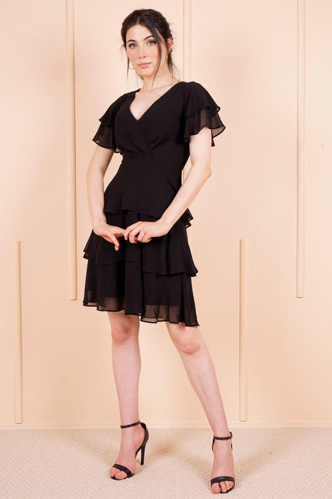 فستان قصير شيفون أسود مكشكش نسائي