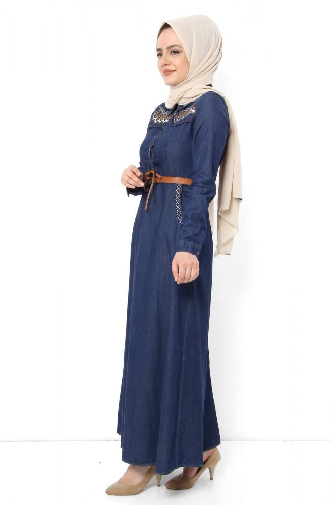 فستان طويل دنيم أزرق غامق بترتر وحزام نسائي