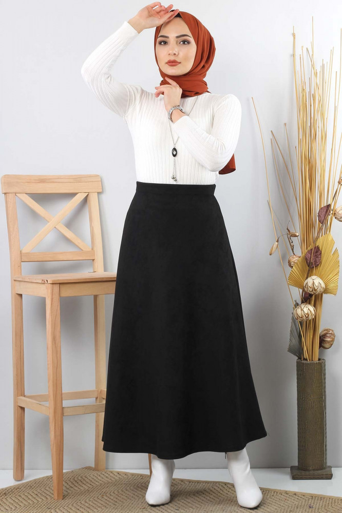 تنورة طويلة جلد سويدي سوداء نسائية