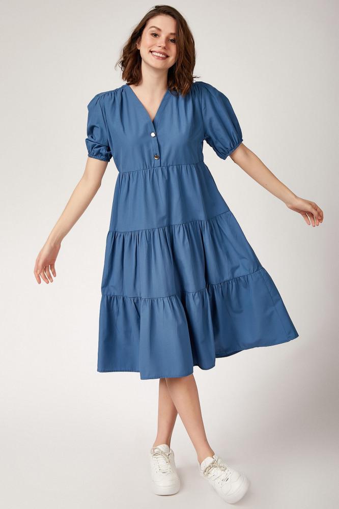 فستان ميدي بأكمام بالون نسائي