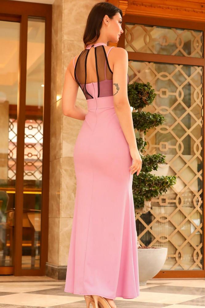 فستان سهرة وردي مفصل بتول نسائي