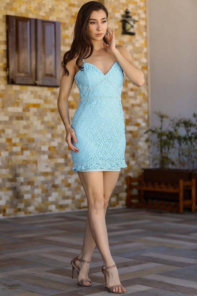 فستان دانتيل أزرق نسائي