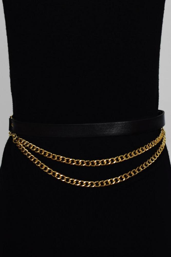حزام أسود بسلسلة ذهبية نسائي