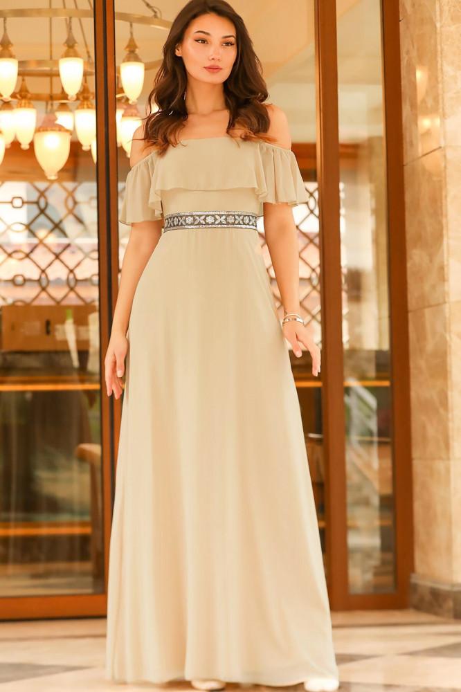 فستان سهرة شيفون بيج بخصر بترتر نسائي