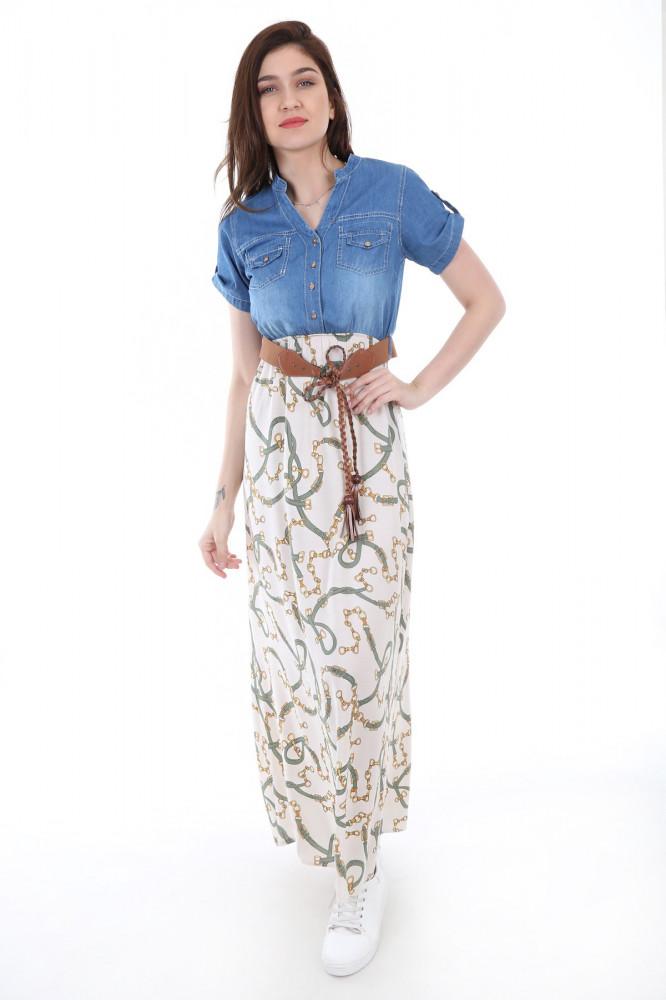 فستان مزخرف بجزء علوي جينز نسائي