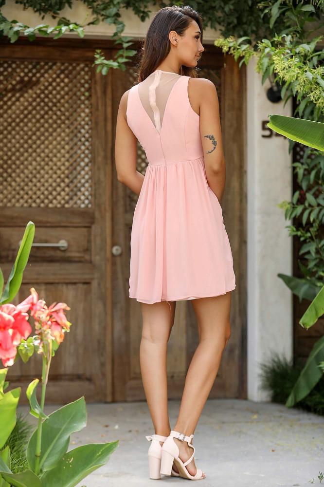 فستان شيفون وردي فاتح نسائي
