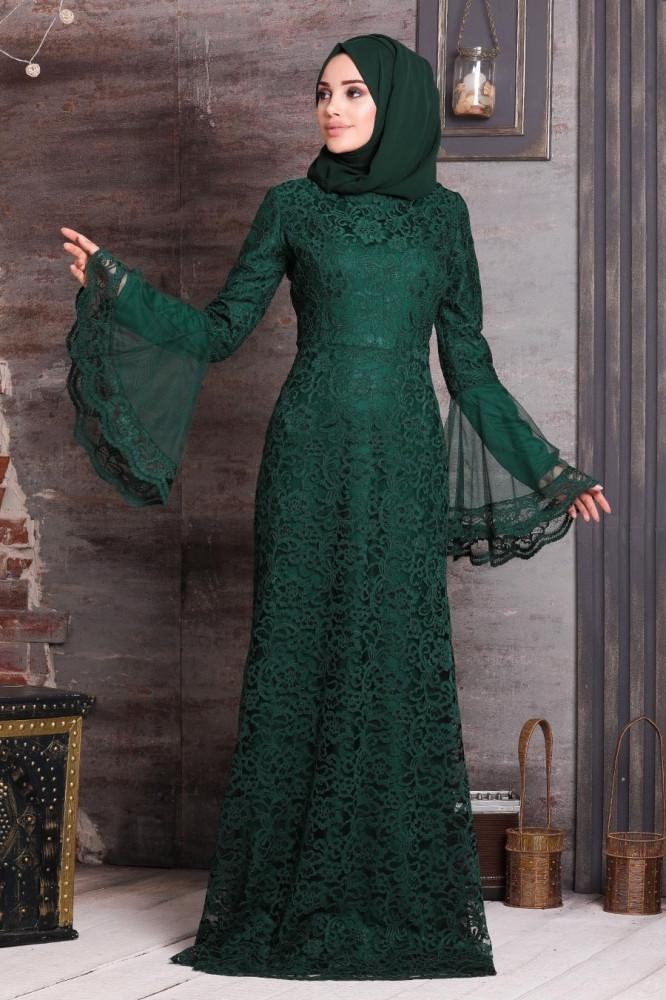 فستان سهرة محتشم دانتيل أخضر نسائي
