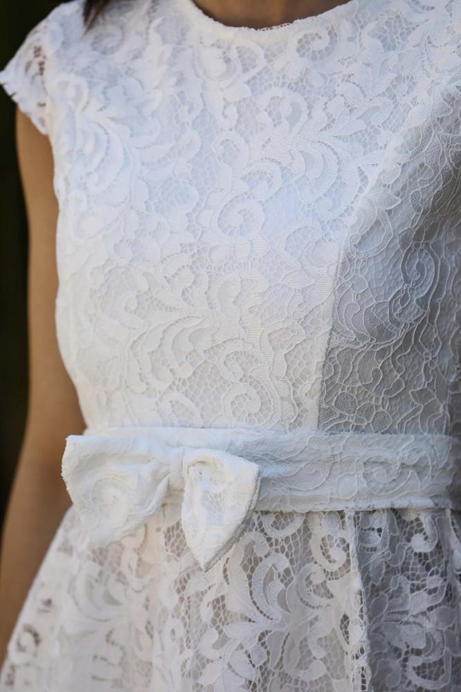 فستان سهرة قصير دانتيل اكرو بحزام وفيونكة نسائي