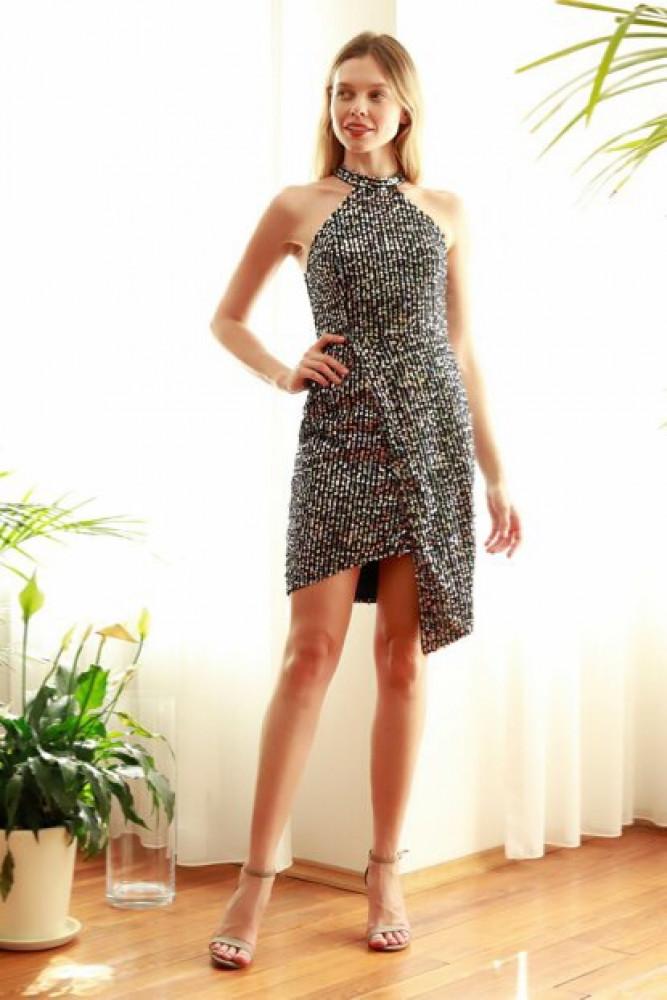 فستان قصير متعدد الألوان بترتر نسائي