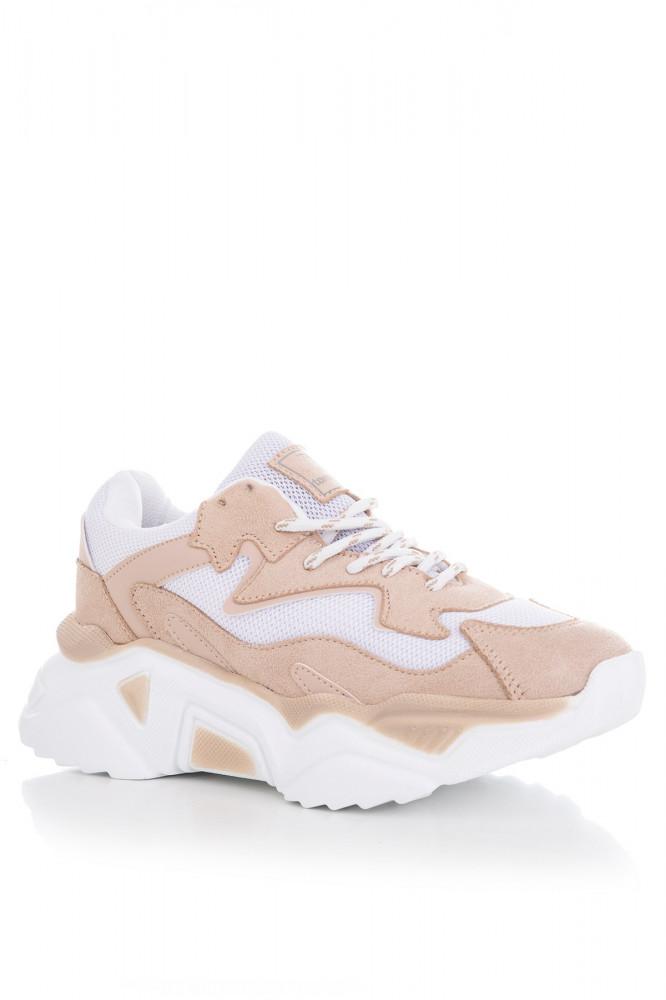 حذاء رياضة أبيض بيج رملي نسائي