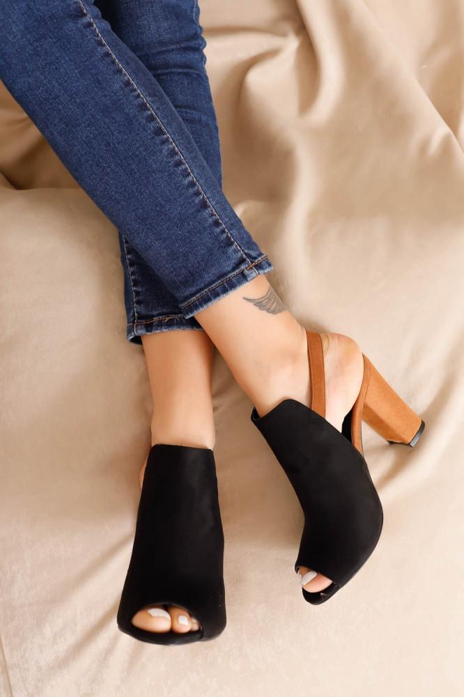 حذاء جلد سويدي بني فاتح أسود بكعب نسائي