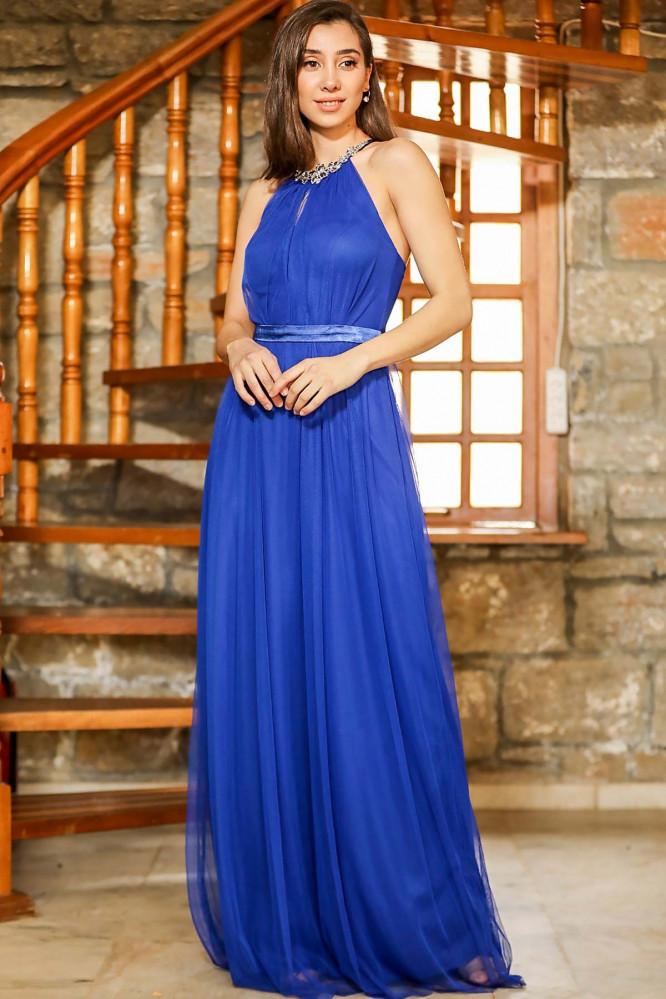فستان سهرة طويل أزرق بتول و فصوص نسائي