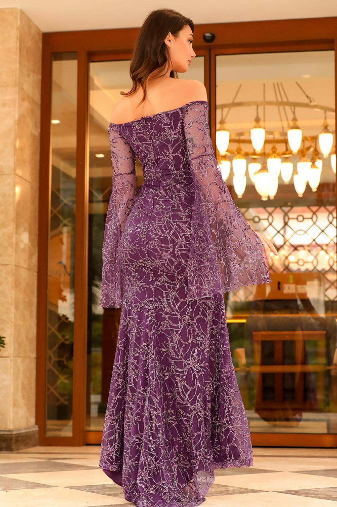 فستان سهرة بنفسجي لامع برقبة بدون أكتاف نسائي