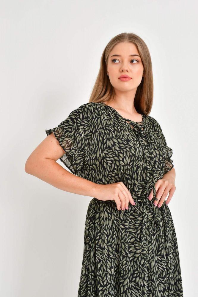 فستان شيفون مكشكش مفصل بربطة نسائي