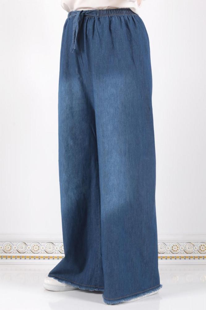 بنطلون أزرق داكن بأرجل واسعة وخصر مرن نسائي