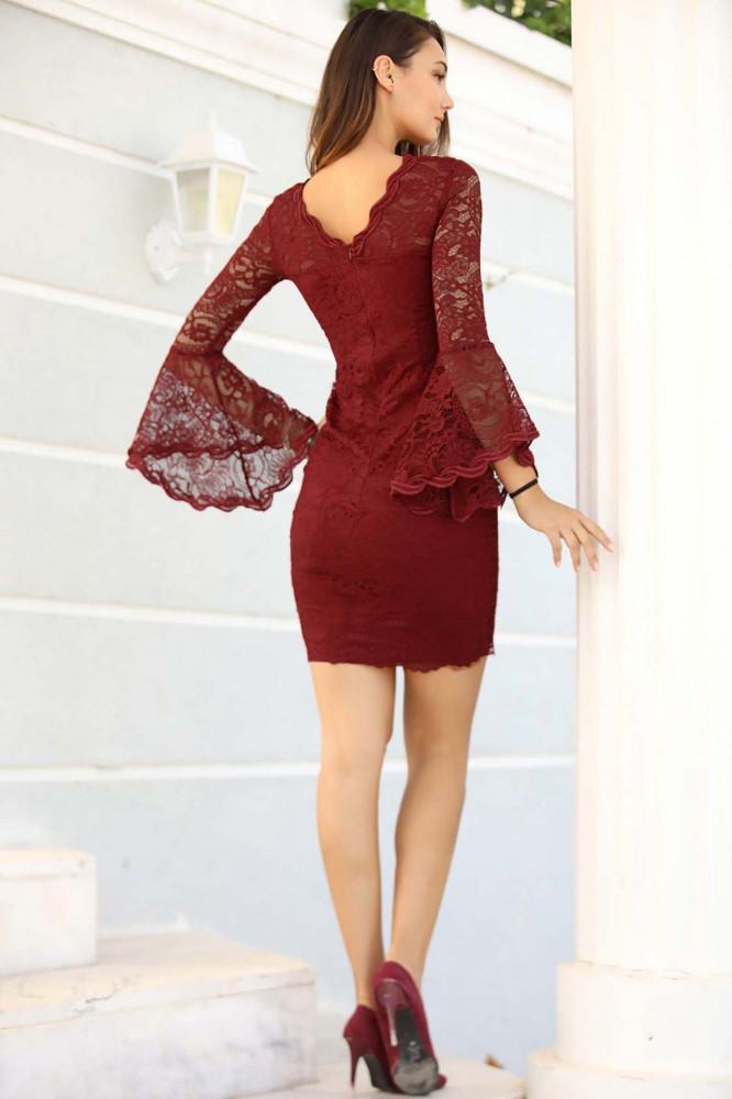 فستان سهرة قصير دانتيل عنابي نسائي