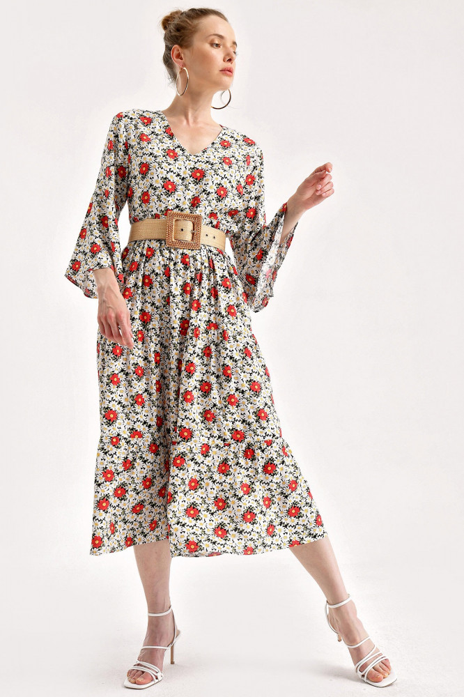 فستان فسكوز مزخرف بورود نسائي