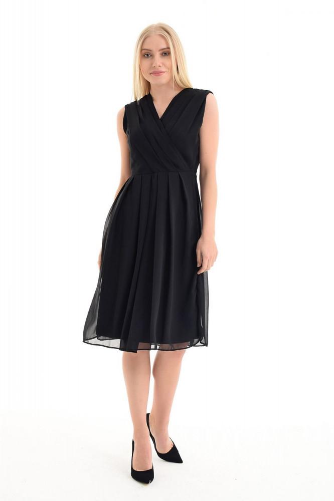 فستان قصير شيفون أسود بدون أكمام وياقة لف نسائي