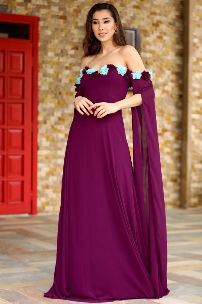 فستان سهرة بنفسجي بياقة مطرزة