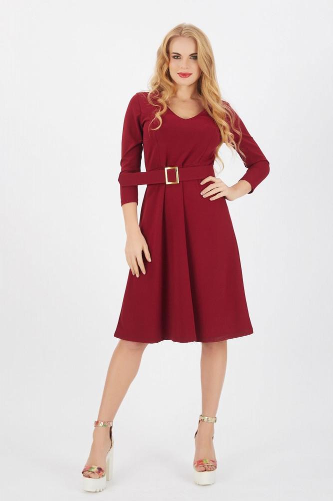 فستان قصير كريب سكوبا عنابي بأكمام ثلاث أرباع ورقبة V نسائي