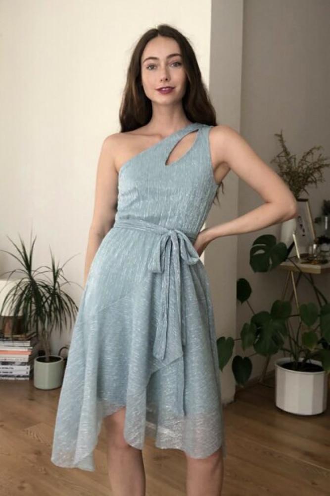 فستان أزرق مفصل بياقة نسائي