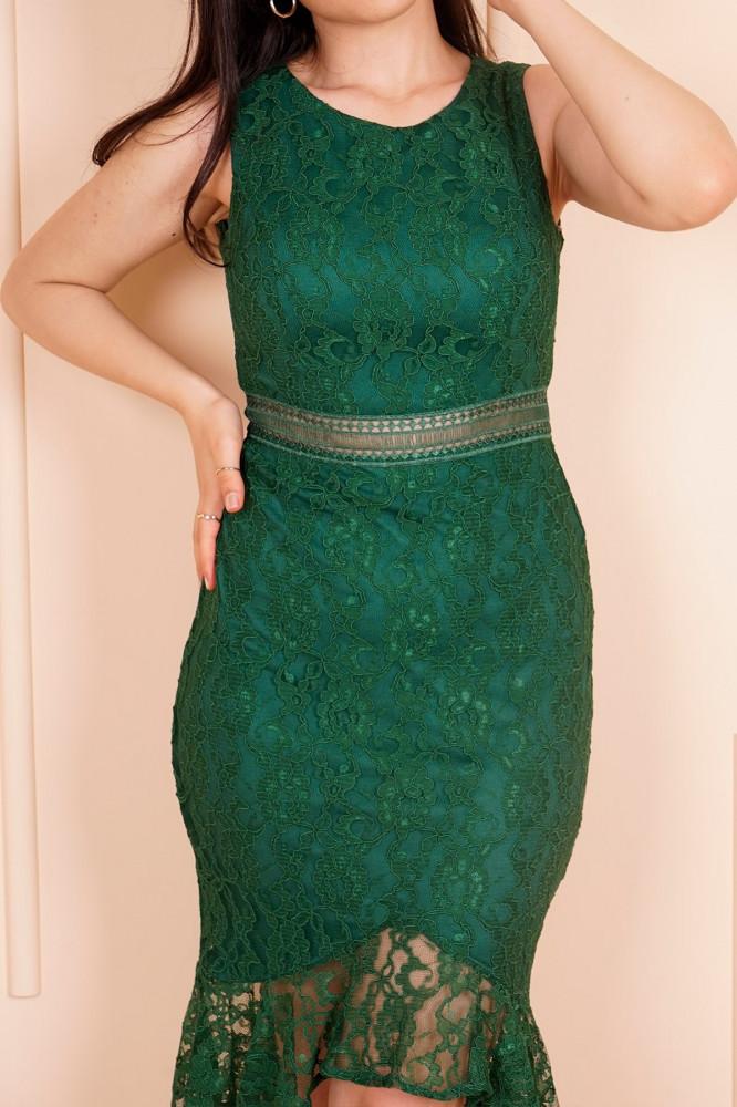 فستان سهرة قصير دانتيل أخضر زمردي نسائي