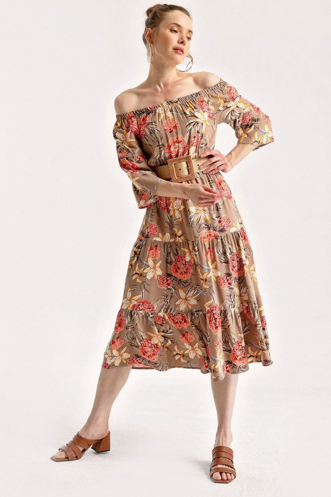 فستان ميدي بيج غامق مزخرف برقبة مرنة نسائي