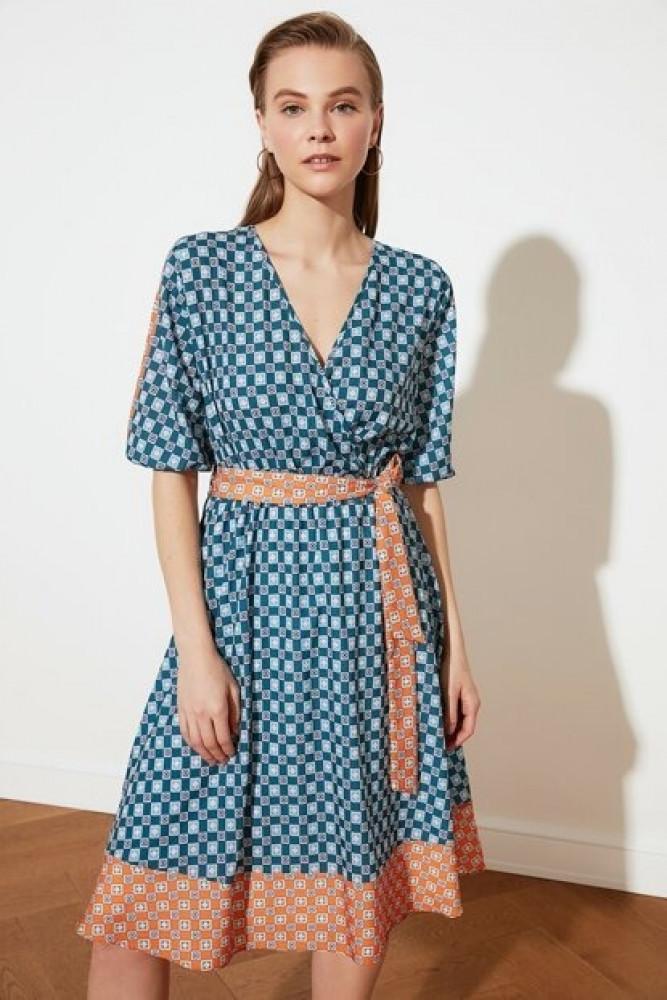 فستان بترولي مزخرف بحزام نسائي