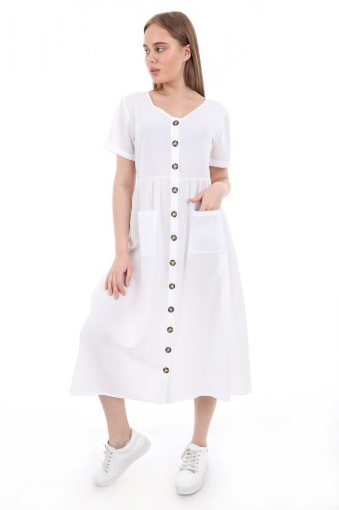 فستان بأزرار أمامية وجيوب مزدوجة نسائي