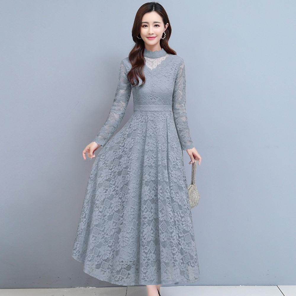 فستان سهرة رمادي طويل من الدانتيل - متجر تواجد